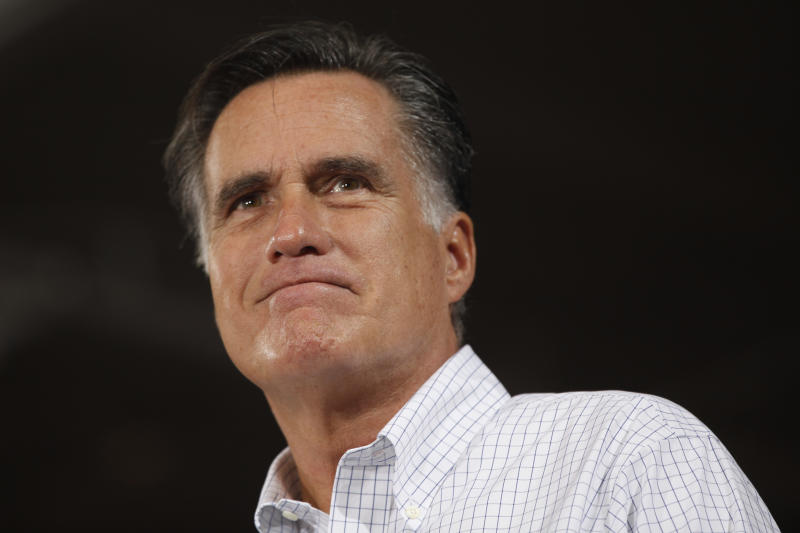 Republican presidential candidate, former Massachusetts Gov. Mitt Romney pauses during a campaign stop at Avon Lake High School in Avon Lake, Ohio, Monday, Oct. 29, 2012. (AP Photo/Charles Dharapak)