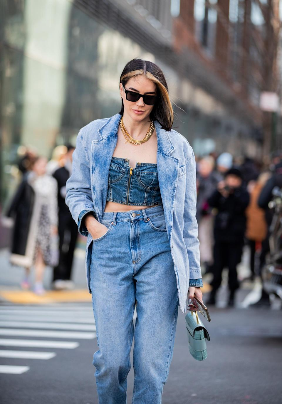 <p>Another '90s-inspired look to try: baggy jeans, a corset top, and a denim jacket. </p>