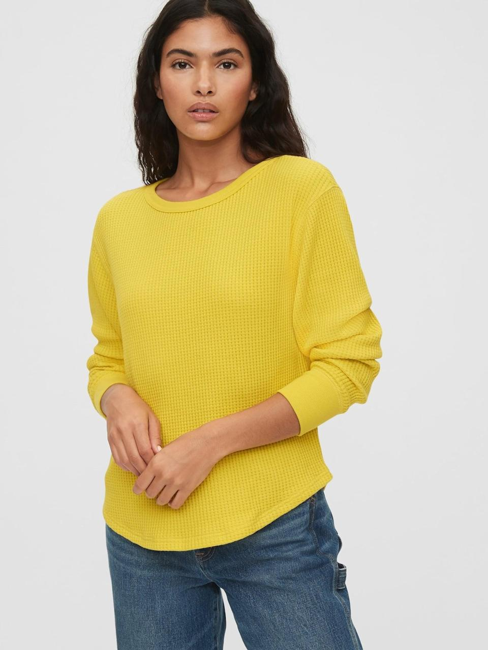 <p>A thermal classic this <span>Gap Waffle-Knit Crewneck T-Shirt</span> ($23) adds a happy touch to your every day t-shirt and jeans.</p>