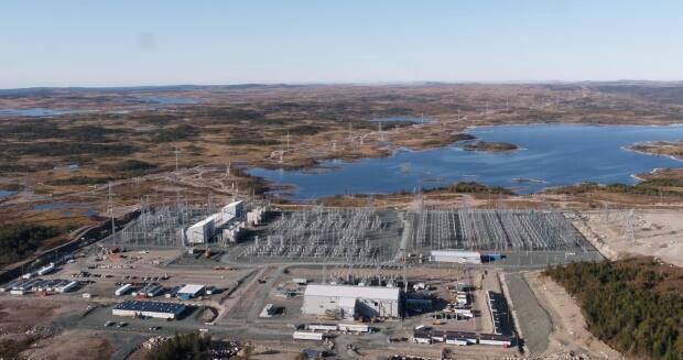 This is an aerial photo of the utility station at Soldiers Pond, on Newfoundland's Avalon Peninsula. The station converts direct current power transmitted over the Labrador-Island Link from Muskrat Falls to alternating current energy that can be integrated into the island's power grid.  (Submitted by Nalcor Energy - image credit)