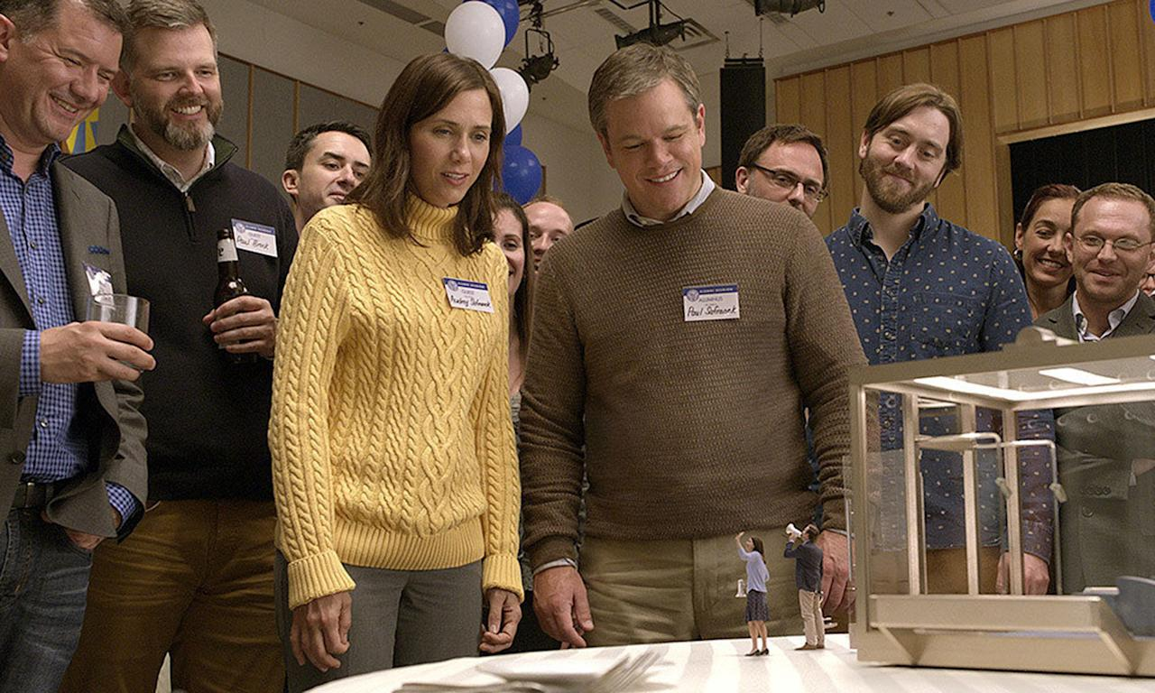 <p>From the director movies like <i>Sideways</i> and <i>Election</i>, Alexander Payne creates a whimsically Swiftian satire with <i>Downsizing</i>, in which Matt Damon, a bored office worker, volunteers for a new program which is miniaturising humans, in the hope it might one day solve the planet's over-population problem. Hoping to persuade his wife (Kristen Wiig) to join him at a miniaturised community in Omaha, things don't quite go to plan. </p>