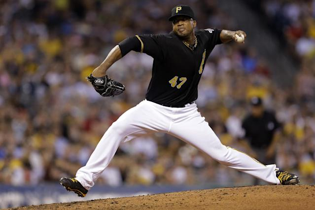 Pittsburgh Pirates starting pitcher Francisco Liriano (47) during the third inning of a baseball game against the St. Louis Cardinals in Pittsburgh Friday, Aug. 30, 2013. (AP Photo/Gene J. Puskar)