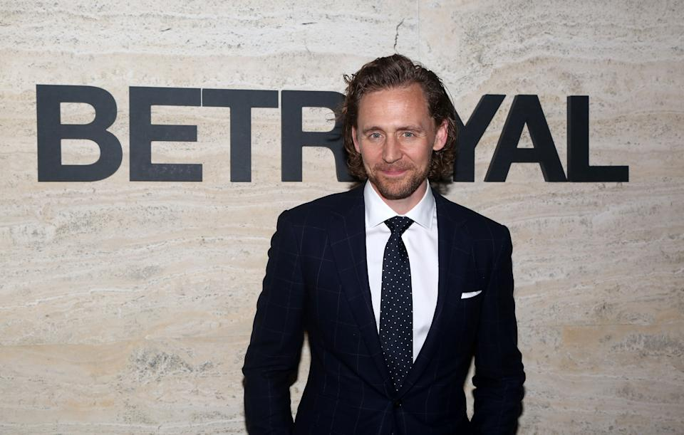 """NEW YORK, NY – SEPTEMBER 5: Tom Hiddleston poses at The Opening Night of """"Betrayal"""" on Broadway at THE POOL at the Seagram Building on September 5, 2019 in New York City. (Photo by Bruce Glikas/WireImage)"""