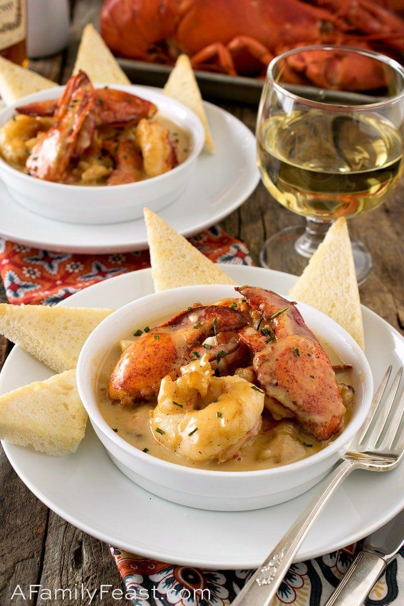 """<p>This rich seafood dinner is perfect for a fancy date night in.</p><p>Get the recipe from <a href=""""https://www.afamilyfeast.com/lobster-newberg/"""" rel=""""nofollow noopener"""" target=""""_blank"""" data-ylk=""""slk:A Family Feast"""" class=""""link rapid-noclick-resp"""">A Family Feast</a>.</p>"""