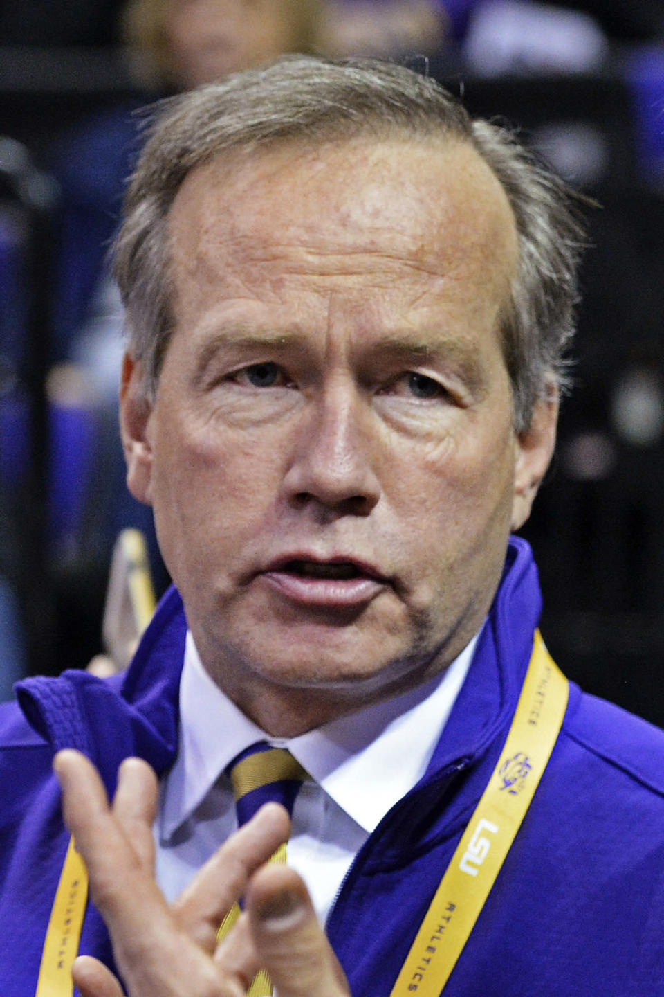 """FILE - In this Tuesday, Jan. 26, 2016, file photo, then-LSU President F. King Alexander is shown before an NCAA college basketball game against Georgia in Baton Rouge, La. Parents of former Oregon State volleyball players urged the school's trustees to consider president F. King Alexander's handling of abuse allegations in that program while they're discussing his future because of unrelated cases while he was at LSU. An independent investigation at that school found a """"serious institutional failure"""" in LSU's handling of Title IX cases during Alexander's tenure there, which ended in 2019. (Hilary Scheinuk/The Advocate via AP, File)"""