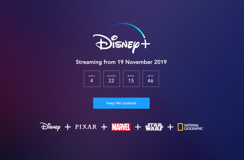 Pictured: Screenshot of Disney+ landing page, counting down until Australia launch on 19 November. Image: Disney+