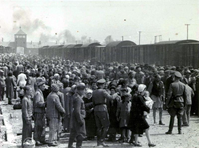 A photo taken 27 May 1944 in Oswiecim shows Nazis selecting prisoners on the platform at the entrance of the Auschwitz-Birkenau extermination camp (AFP Photo/)