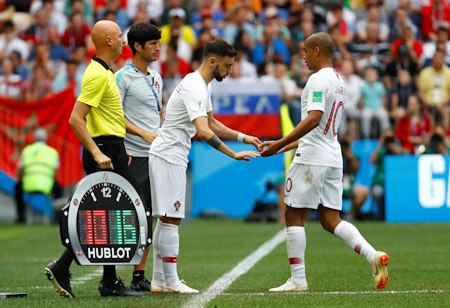 Soccer Football - World Cup - Group B - Portugal vs Morocco - Luzhniki Stadium, Moscow, Russia - June 20, 2018 Portugal's Bruno Fernandes comes on as a substitute to replace Joao Mario REUTERS/Kai Pfaffenbach