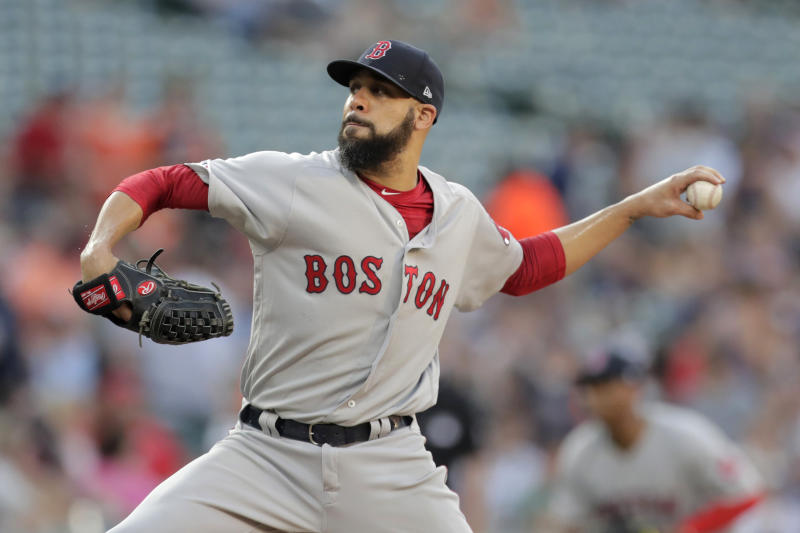 Boston Red Sox starter David Price pitches to a Baltimore Orioles batter during the first inning of a baseball game Friday, July 19, 2019, in Baltimore. (AP Photo/Julio Cortez)