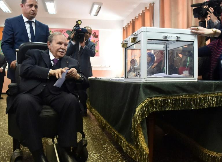 Algerian President Abdelaziz Bouteflika casting his ballot during parliamentary elections in 2017