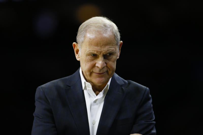 Cleveland Cavaliers' John Beilein coaches during an NBA basketball game against the Philadelphia 76ers, Tuesday, Nov. 12, 2019, in Philadelphia. (AP Photo/Matt Slocum)