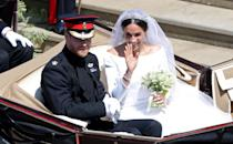 <p>Prince Harry, Duke of Sussex, and Meghan, Duchess of Sussex, leave Windsor Castle in the Landau carriage. (Photo: Andrew Matthews – Pool/Getty Images) </p>