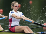 """FILE - In this May 29, 2016, file photo, Grace Luczak, right, of the United States, compete at the Women's Pair Final race at the Rowing World Cup on Lake Rotsee in Lucerne, Switzerland. The playbook for athletes provides a guide to a """"safe and successful Games"""" for the Tokyo Olympics. It's filled with """"cannots"""" and """"do nots,"""" meaning a once-in-a-liftetime opportunity will be a whole lot less fun. (Urs Flueeler/Keystone via AP, File)"""