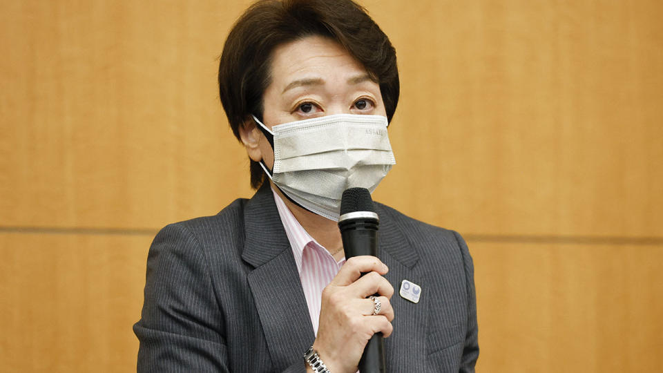 Seiko Hashimoto, pictured here at a press conference to decide on fan attendance at the Olympics.
