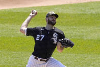 Chicago White Sox starting pitcher Lucas Giolito delivers in the first inning of the first game of a baseball doubleheader Friday, May 14, 2021, in Chicago. (AP Photo/Charles Rex Arbogast)