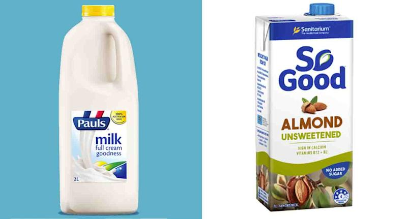A glass of So Good Almond Milk actually offers slightly more calcium than a glass of Paul's Full Cream Milk. Source: Pauls, So Good
