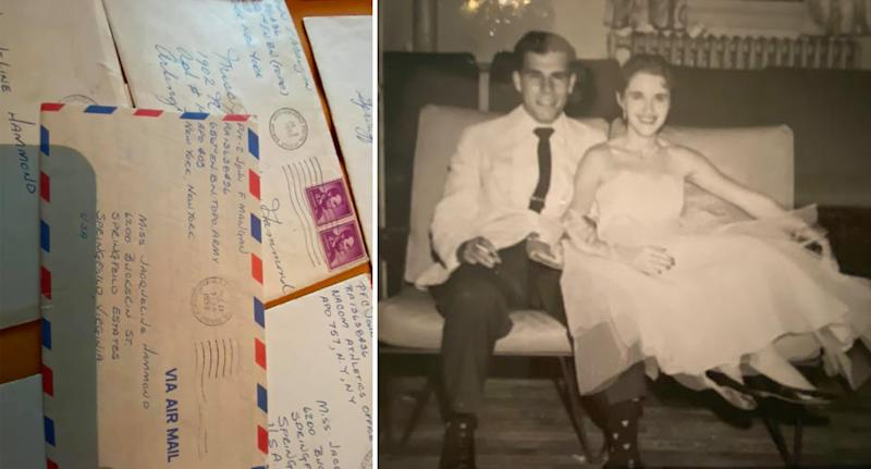 On the left is a stack of letters and on the right is an old photograph of John and Rachael Powers' grandmother.