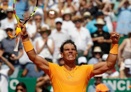 Tennis - ATP - Monte Carlo Masters - Monte-Carlo Country Club, Monte Carlo, Monaco - April 21, 2018 Spain's Rafael Nadal celebrates after winning his semi-final match against Bulgaria's Grigor Dimitrov REUTERS/Eric Gaillard