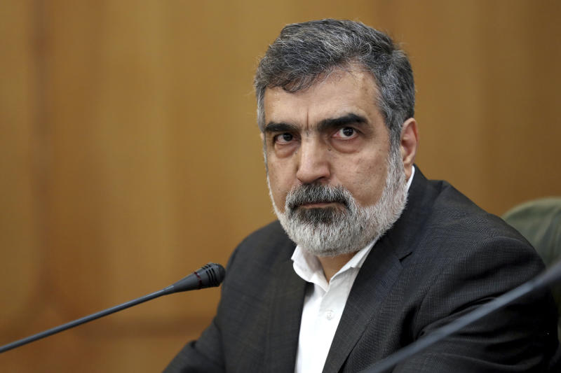 """Spokesman for Iran's atomic agency Behrouz Kamalvandi attends a press briefing in Tehran, Iran, Sunday, July 7, 2019. The deputy foreign minister says that his nation considers the 2015 nuclear deal with world powers to be a """"valid document"""" and seeks its continuation. (AP Photo/Ebrahim Noroozi)"""