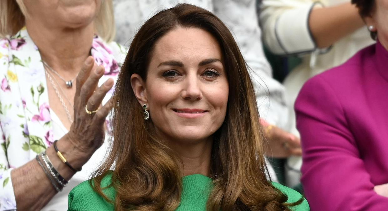 Kate Middleton stepped out in a stunning green ensemble for her return to Wimbledon. (Getty Images)