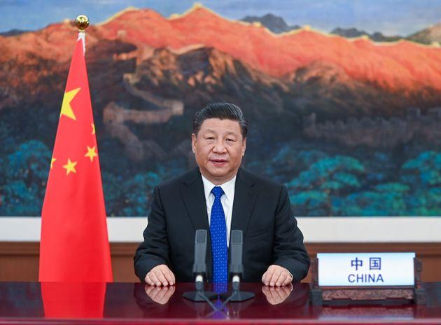 Chinese President Xi Jinping delivers a speech at the opening of the 73rd World Health Assembly via video link in Beijing, May 18, 2020.