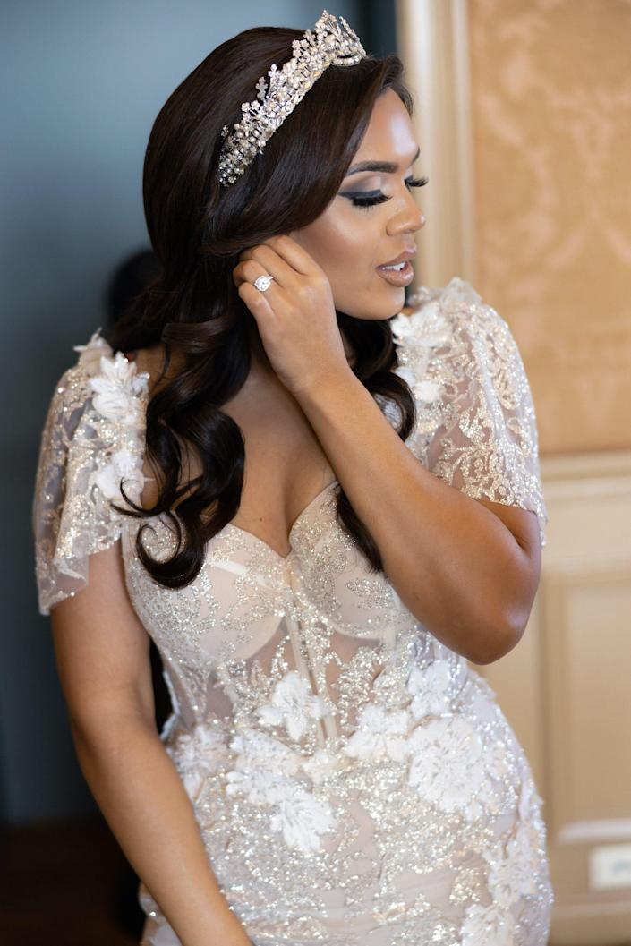 A close up of the front of Vishnell's wedding dress