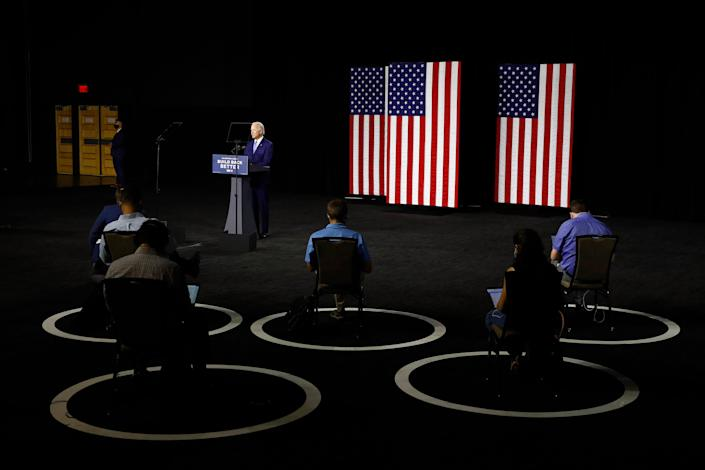 Biden at a socially distant campaign event in Wilmington, Del., on July 14 | Patrick Semansky—AP