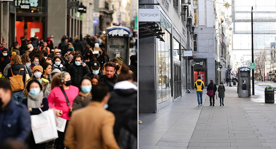 There was a marked contrast between London's Oxford Street on Saturday and Sunday. (PA)