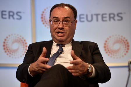"FILE PHOTO: Andrew Bailey, CEO of the Financial Conduct Authority, speaks during a ""Reuters Newsmaker"" interview at the Reuters offices in London"