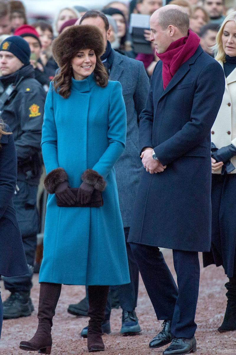 February 1: C'mon, we could write literally anything about the coat here; we know you're not going to be able to stare at anything other than Kate's hat.