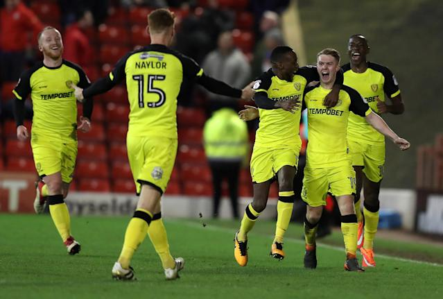 "Soccer Football - Championship - Barnsley vs Burton Albion - Oakwell, Barnsley, Britain - February 20, 2018 Burton Albion's Jacob Davenport (2nd right) celebrates scoring their second goal with team mates Action Images/John Clifton EDITORIAL USE ONLY. No use with unauthorized audio, video, data, fixture lists, club/league logos or ""live"" services. Online in-match use limited to 75 images, no video emulation. No use in betting, games or single club/league/player publications. Please contact your account representative for further details."