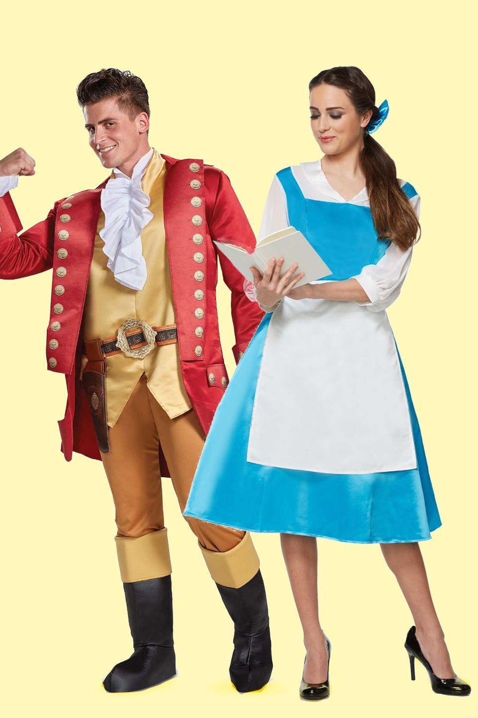 """<p>No one's slick as Gaston, no one's quick as Gaston, no one wins Halloween like Gaston! Yes, he's the villain, but he also has the catchiest song in<em> <a href=""""https://www.amazon.com/Beauty-Beast-Theatrical-Version-Watson/dp/B06XHR1RX1/?tag=syn-yahoo-20&ascsubtag=%5Bartid%7C10055.g.2625%5Bsrc%7Cyahoo-us"""" rel=""""nofollow noopener"""" target=""""_blank"""" data-ylk=""""slk:Beauty and the Beast"""" class=""""link rapid-noclick-resp"""">Beauty and the Beast</a></em>. (Sorry, Belle.)</p><p><a class=""""link rapid-noclick-resp"""" href=""""https://go.redirectingat.com?id=74968X1596630&url=https%3A%2F%2Fwww.spirithalloween.com%2Fproduct%2Ftv-movies-gaming%2Fmovies%2Fbeauty-and-the-beast%2Fadult-belle-blue-dress-costume-beauty-and-the-beast%2Fpc%2F1382%2Fc%2F3810%2Fsc%2F4241%2F134913.uts%3FthumbnailIndex%3D10&sref=https%3A%2F%2Fwww.goodhousekeeping.com%2Fholidays%2Fhalloween-ideas%2Fg2625%2Fhalloween-costumes-for-couples%2F"""" rel=""""nofollow noopener"""" target=""""_blank"""" data-ylk=""""slk:SHOP BELLE COSTUME"""">SHOP BELLE COSTUME</a></p><p> <a class=""""link rapid-noclick-resp"""" href=""""https://www.amazon.com/Disney-Beauty-Gaston-Costume-Medium/dp/B07G7DFD22/?tag=syn-yahoo-20&ascsubtag=%5Bartid%7C10055.g.2625%5Bsrc%7Cyahoo-us"""" rel=""""nofollow noopener"""" target=""""_blank"""" data-ylk=""""slk:SHOP GASTON COSTUME"""">SHOP GASTON COSTUME</a></p>"""