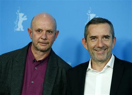 "Director Chaumeil and writer Hornby pose during photocall to promote the movie ""A Long Way Down"" at Berlinale International Film Festival in Berlin"