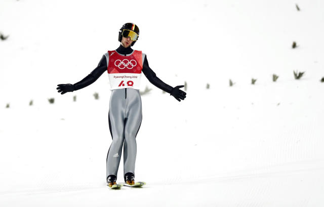 Ski Jumping - Pyeongchang 2018 Winter Olympics - Men's Large Hill Individual Qualifications - Alpensia Ski Jumping Centre - Pyeongchang, South Korea - February 16, 2018 - Markus Eisenbichler of Germany reacts. REUTERS/Kai Pfaffenbach