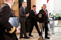 Indonesian counterpart Ryamizard Ryacudu and acting U.S. Defence Secretary Patrick Shanahan prepare for a news briefing after their meeting in Jakarta
