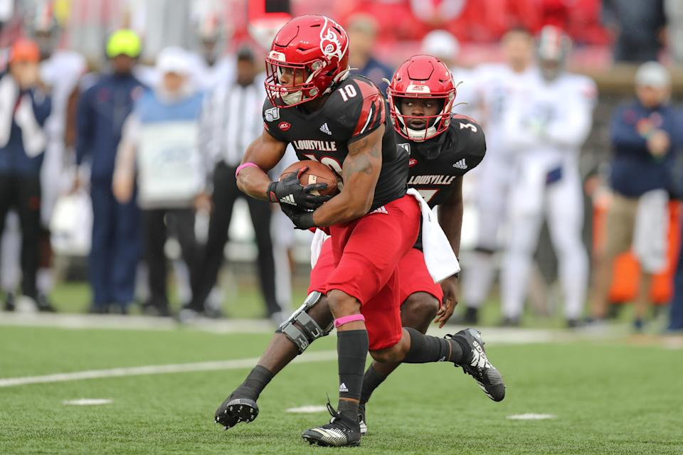 Louisville running back Javian Hawkins rushed for 1,525 yards in 2019 as a redshirt freshman. (Photo by Frank Jansky/Icon Sportswire via Getty Images)