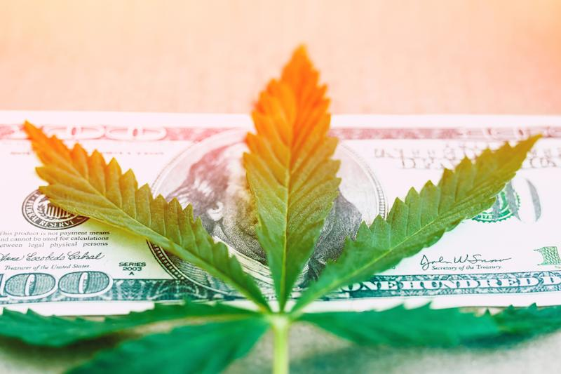 A cannabis leaf on top of a $100 bill.