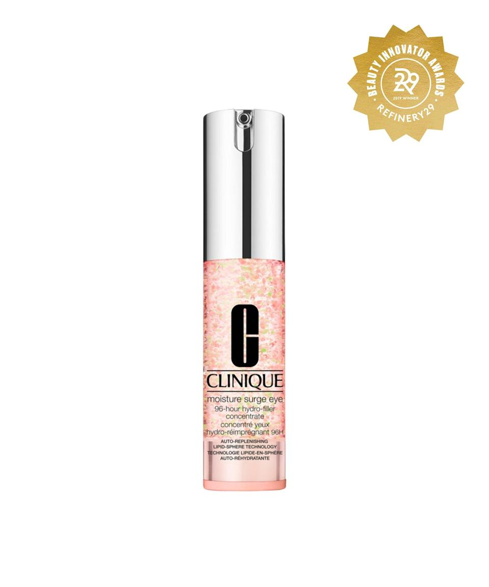 "<h3>Clinique Moisture Surge Eye 96-Hour Hydro Filler</h3><br>Consider this a hydration IV in water-gel form, no needles necessary. A quick tap of the featherlight formula underneath your eyes yields a plump, refreshed effect that lasts for days.<br><br><strong>Clinique</strong> Clinique Moisture Surge Eye 96-Hour Hydro Filler, $, available at <a href=""https://go.skimresources.com/?id=30283X879131&url=https%3A%2F%2Fwww.ulta.com%2Fmoisture-surge-eye-96-hour-hydro-filler-concentrate%3FproductId%3Dpimprod2006273%23locklink"" rel=""nofollow noopener"" target=""_blank"" data-ylk=""slk:Ulta Beauty"" class=""link rapid-noclick-resp"">Ulta Beauty</a>"