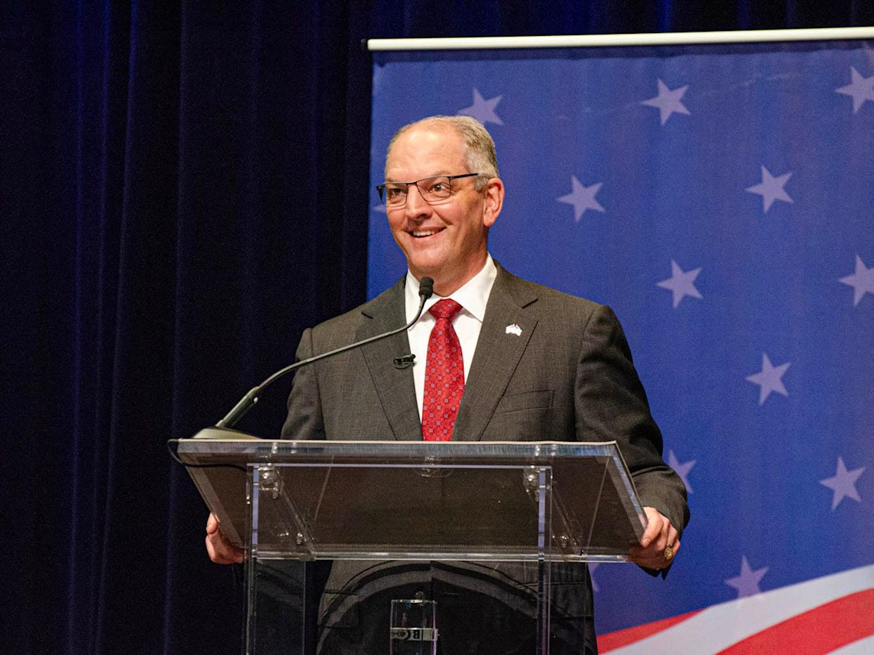 Gov. John Bel Edwards speaks at the gubernatorial debate hosted by Louisiana Public Broadcasting and the Council for a Better Louisiana on the University of Louisiana at Lafayette campus Thursday, Sept. 26, 2019.