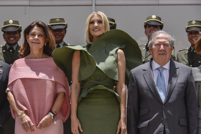 BOGOTA, COLOMBIA - SEPTEMBER 03: Advisor to the US President Ivanka Trump (C) poses for the family photo along with Vice President of Colombia Marta Lucia Ramirez (L) and Colombia's Minister of National Defense Guillermo Botero (R) after a meeting with female police cadets at General Santander National Police Academy on September 03, 2019 in Bogota, Colombia. (Photo by Guillermo Legaria Schweizer/Getty Images)