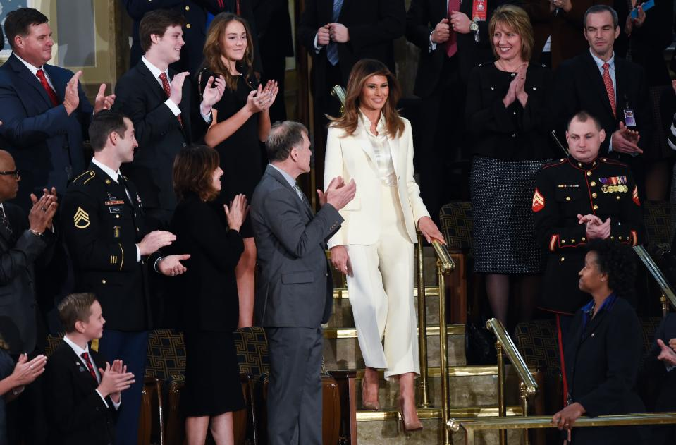 Social media went into overdrive when Melania Trump arrived at the State of the Union address. Her cream-hued Dior suit accessorised with a Dolce and Gabbana shirt immediately sparked debate, as it was undoubtedly much more than a standard outfit choice. The First Lady seemingly drew reference to Hillary Clinton's famous white suit and eagle-eyed social media users claimed it was a sartorial tribute to the feminist muse. And maybe just maybe, a dig at misogynistic Donald Trump. [Photo: Getty]
