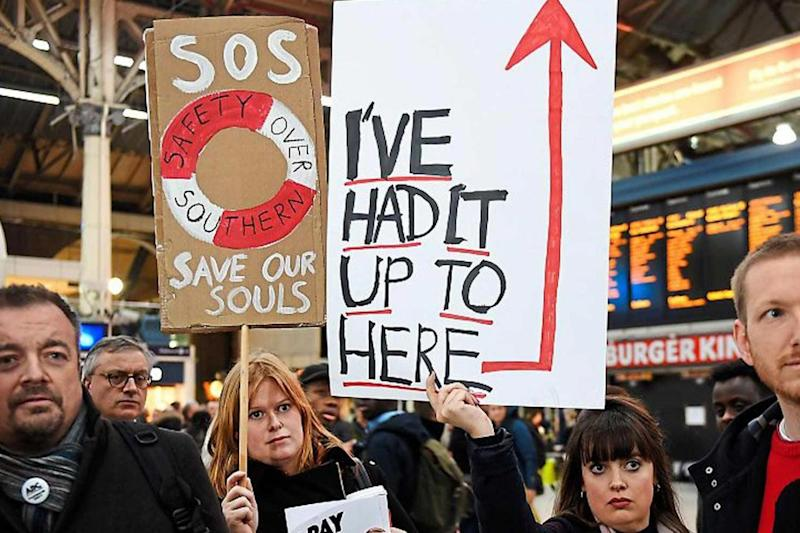 Protest: Southern Rail commuters staged a demonstration at Victoria station. (EPA)