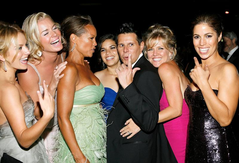 LOS ANGELES, CA - SEPTEMBER 16: (L-R) Actors Becki Newton, Rebecca Romijn, Vanessa Williams, America Ferrera, creator Silvio Horta, actresses Ashley Jensen, and Ana Ortiz pose at the Governor's Ball after the 59th Annual Primetime Emmy Awards at the Shrine Auditorium on September 16, 2007 in Los Angeles, California. (Photo by Vince Bucci/Getty Images)