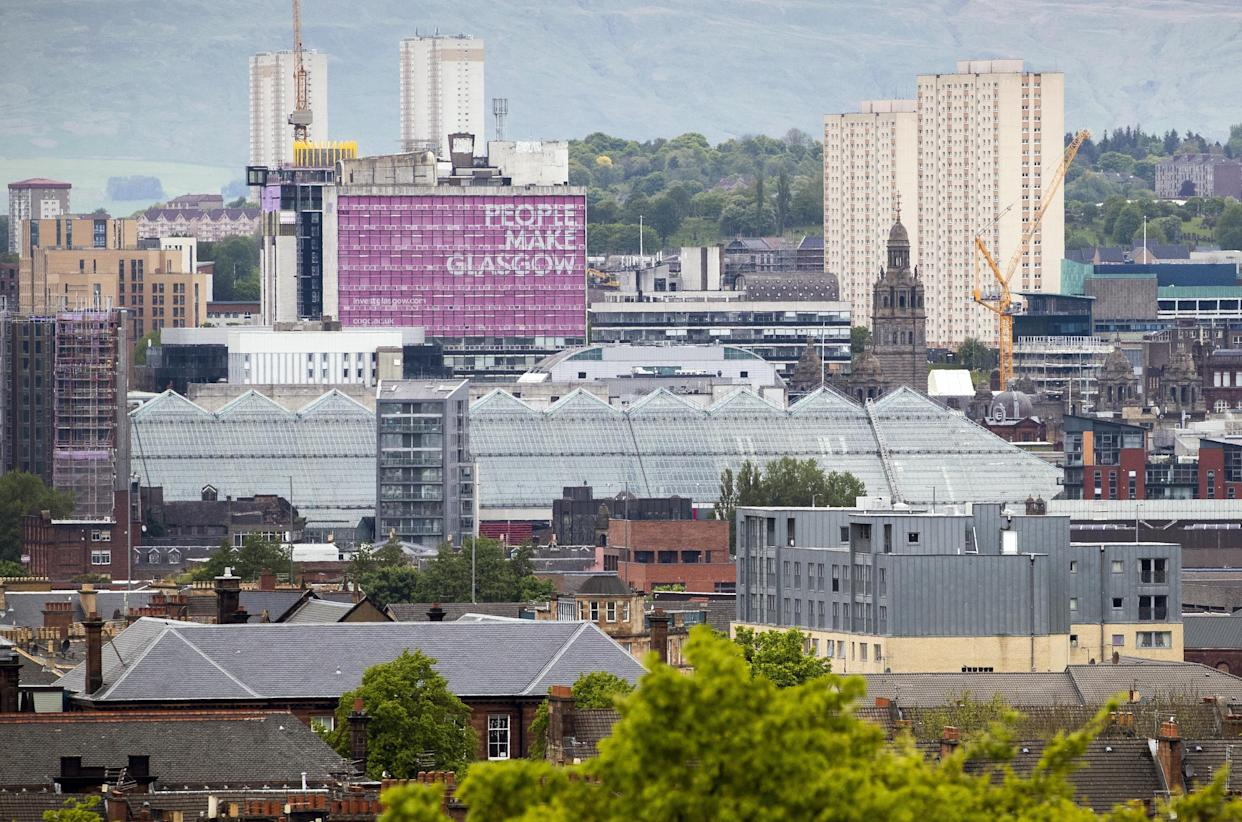 A view from Queen's Park across the city of Glasgow. First Minister Nicola Sturgeon has announced Glasgow will remain in Level Three lockdown as cases remain high in the city. Picture date: Friday May 28, 2021. (Photo by Jane Barlow/PA Images via Getty Images)