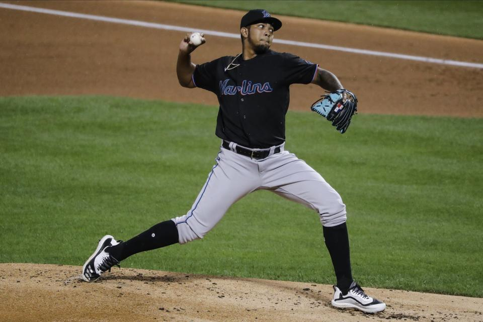 Miami Marlins' Humberto Mejia delivers a pitch during the first inning of a baseball game against the New York Mets Friday, Aug. 7, 2020, in New York. (AP Photo/Frank Franklin II)