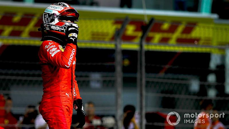 Pole sitter Charles Leclerc at Singapore GP 2019