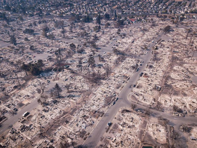 An aerial view of the damage to the Coffey Park neighborhood in Santa Rosa, California, on Oct. 11, 2017. (ELIJAH NOUVELAGE/Getty Images)