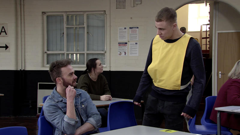 David Platt [JACK P SHEPHERD] visits Clayton Hibbs [CALLUM HARRISON] in prison and implores him to leave Shona alone but clearly enjoying DavidÕs misery, Clayton assures him thatÕs not going to happen. (ITV Plc)