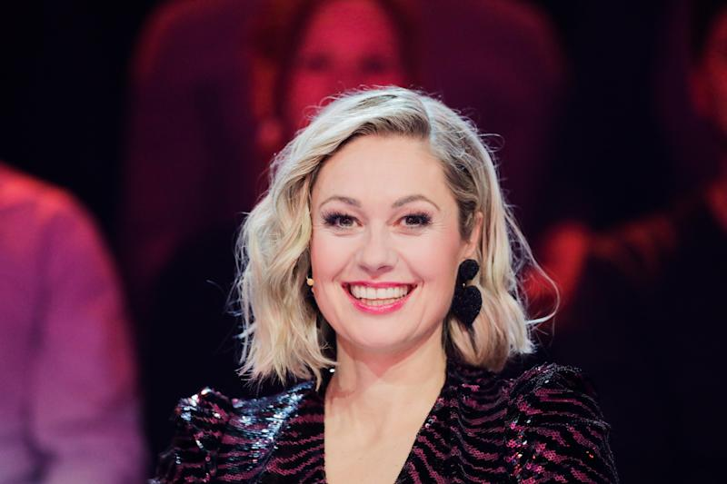 """10 March 2020, North Rhine-Westphalia, Cologne: Ruth Moschner sits on stage in the prose seven show """"The Masked Singer"""". Photo: Rolf Vennenbernd/dpa (Photo by Rolf Vennenbernd/picture alliance via Getty Images)"""