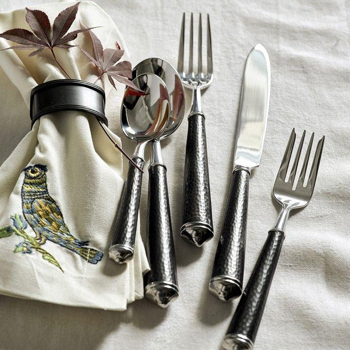 """<p>williams-sonoma.com</p><p><strong>$287.95</strong></p><p><a href=""""https://go.redirectingat.com?id=74968X1596630&url=https%3A%2F%2Fwww.williams-sonoma.com%2Fproducts%2Fcupola-flatware-place-setting&sref=https%3A%2F%2Fwww.womenshealthmag.com%2Flife%2Fg32950001%2Fbest-flatware-sets%2F"""" rel=""""nofollow noopener"""" target=""""_blank"""" data-ylk=""""slk:Shop Now"""" class=""""link rapid-noclick-resp"""">Shop Now</a></p><p>For those who appreciate thicker handles to hold onto, the finish on this cutlery set isn't only beautiful, but it's also a little chunkier than other flatware sets. The utensils are made of stainless steel and were polished entirely by hand. </p>"""